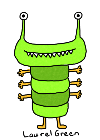 a drawing of a green bug