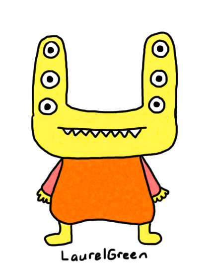 a drawing of a monster with six eyes