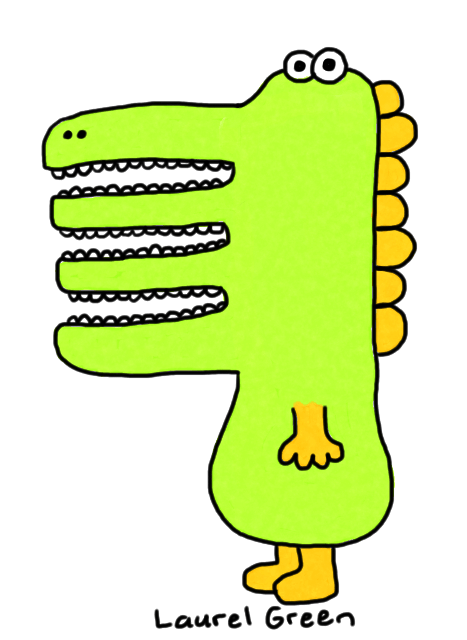 a drawing of a dinosaur thing with three mouths