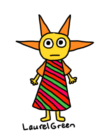 a drawing of a person with a stripy dress and a spiky head