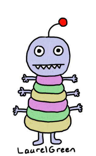 a drawing of a weird thing with six arms