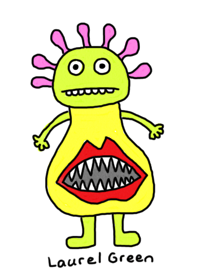 a drawing of a person with a large mouth growing out of their stomach