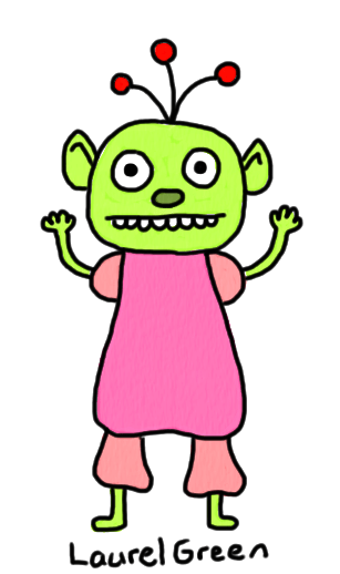a drawing of a cute alien