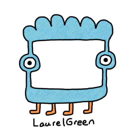 a drawing of a critter with a square hole in its face