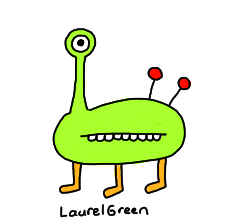 a drawing of a creature with antennae coming out of its bum