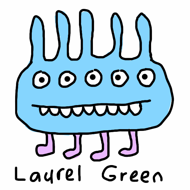 A cellphone drawing of a spiky creature with five eyes and four legs