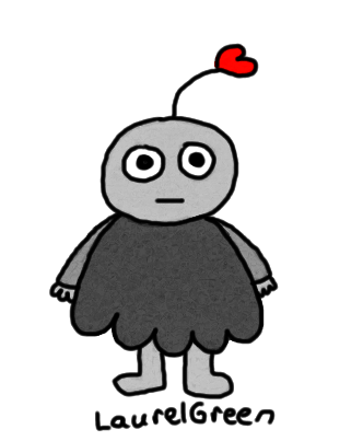 a drawing of a grey thing with a heart antenna