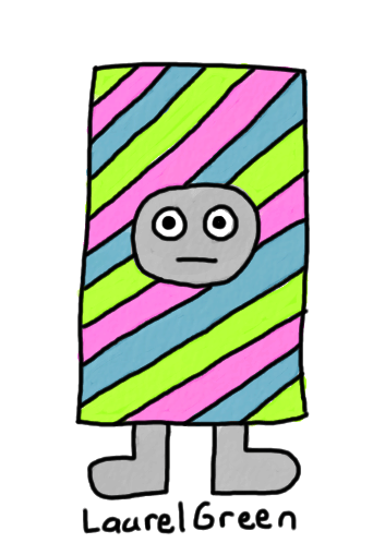 a drawing of a rectangular person with diagonal colours