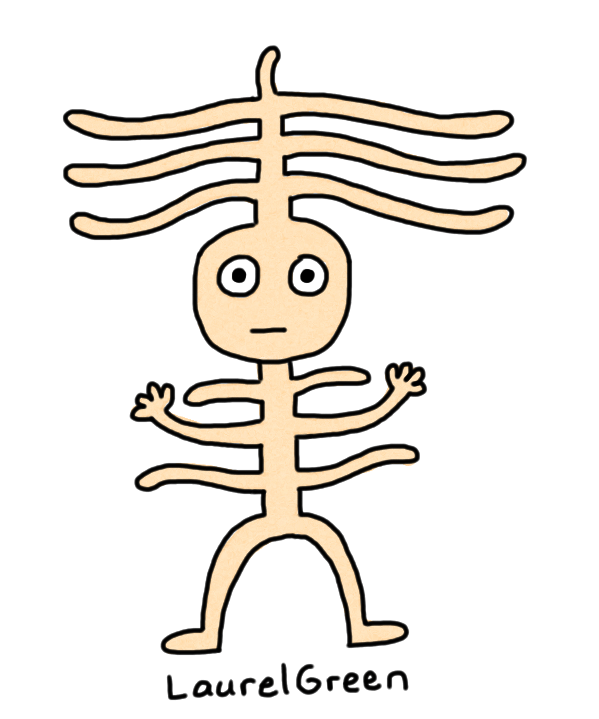 a drawing of a creature with a bunch of ribs sticking out of it.