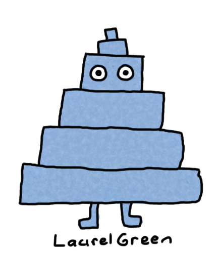 a drawing of a blue pyramid person