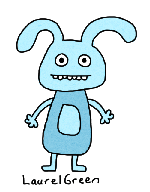 a drawing of a blue rabbit