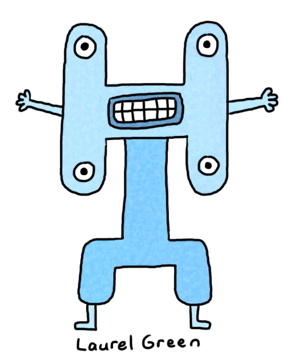 a drawing of a weird blue thing