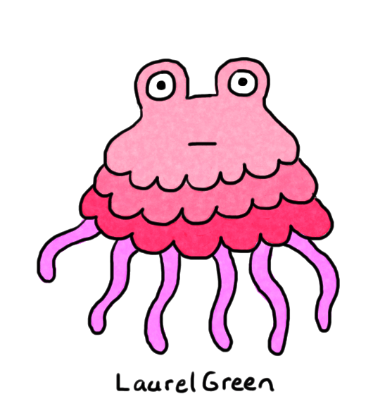a drawing of a lumpy creature with six tentacles