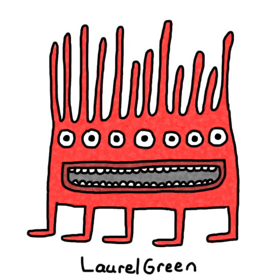a drawing of a red, spiky creature with seven eyes