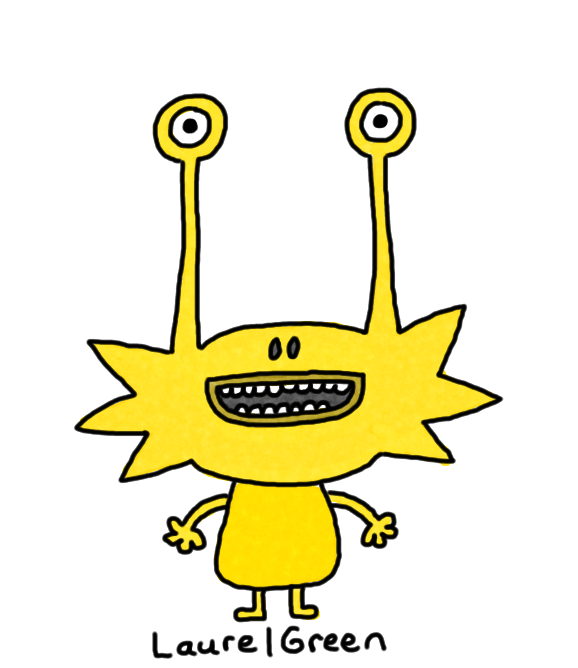 a drawing of a yellow creature with a spiky head