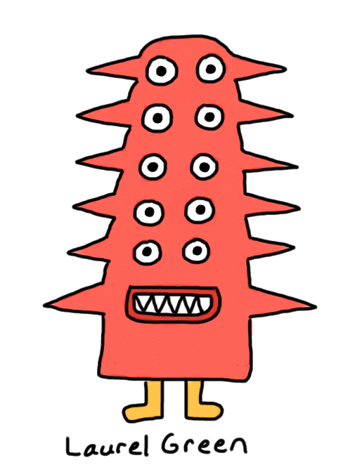 a drawing of a critter with ten eyes and spikes all over its head