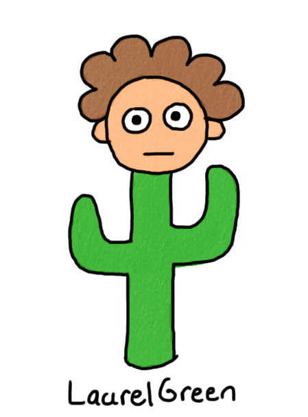 a drawing of a boy who is part cactus
