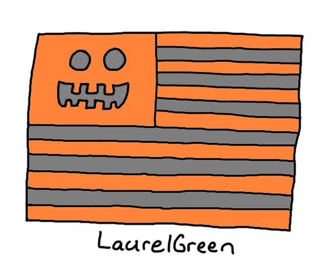 a drawing of a halloween united states flag