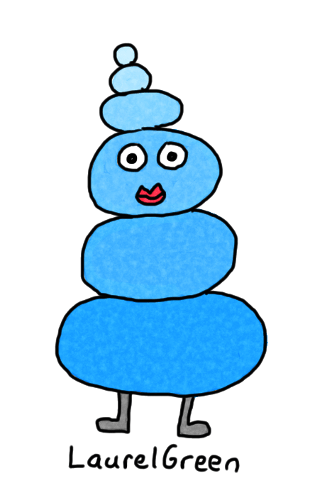 a drawing of a blue rock lady