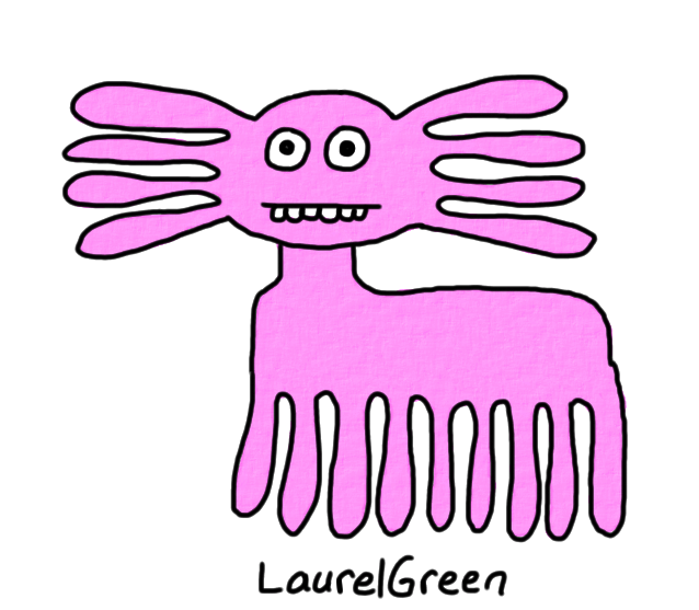 a drawing of a pink thing with nine legs