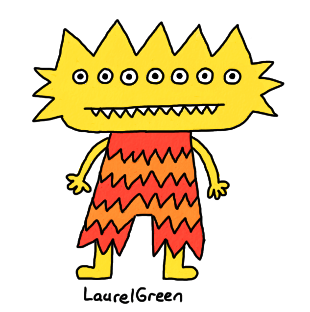 a drawing of a creature that is spiky and brightly coloured