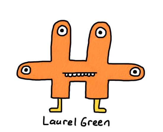 a drawing of an orange critter with four eyes