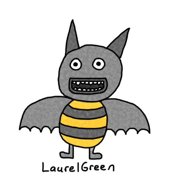 a drawing of a hybrid between a bee and a bat