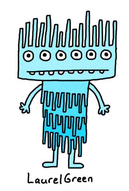 a drawing of a blue, spiky creature with six eyes