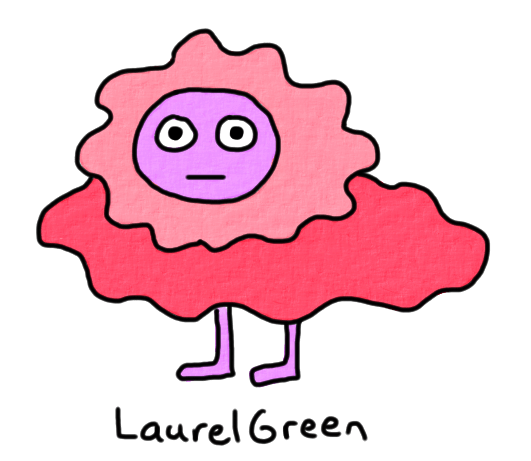 a drawing of a pink, lumpy thing