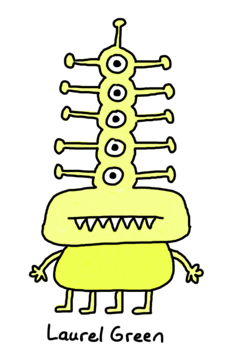 a drawing of a monster with five eyes, antennae and fangs