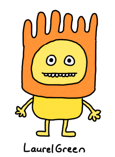 a drawing of a person wearing an orange thing on their head