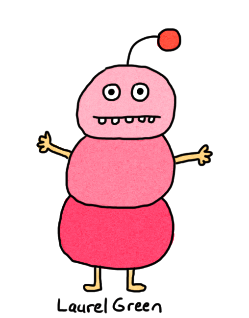 a drawing of a pink creature with a round segmented body and an antenna