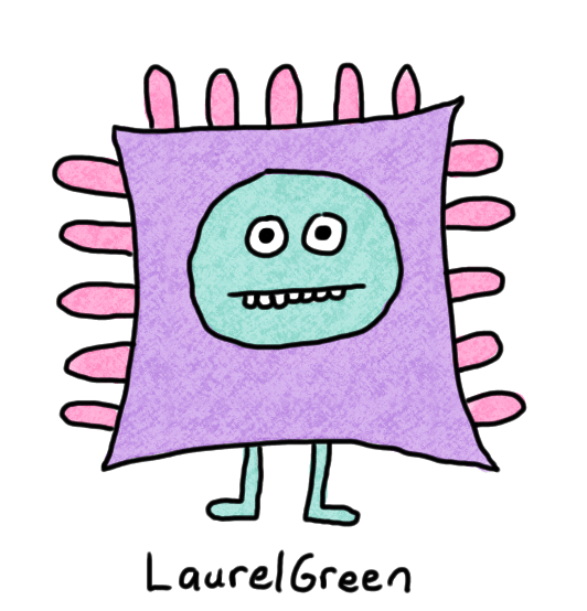a drawing of a rectangular critter with spikes sticking out of it