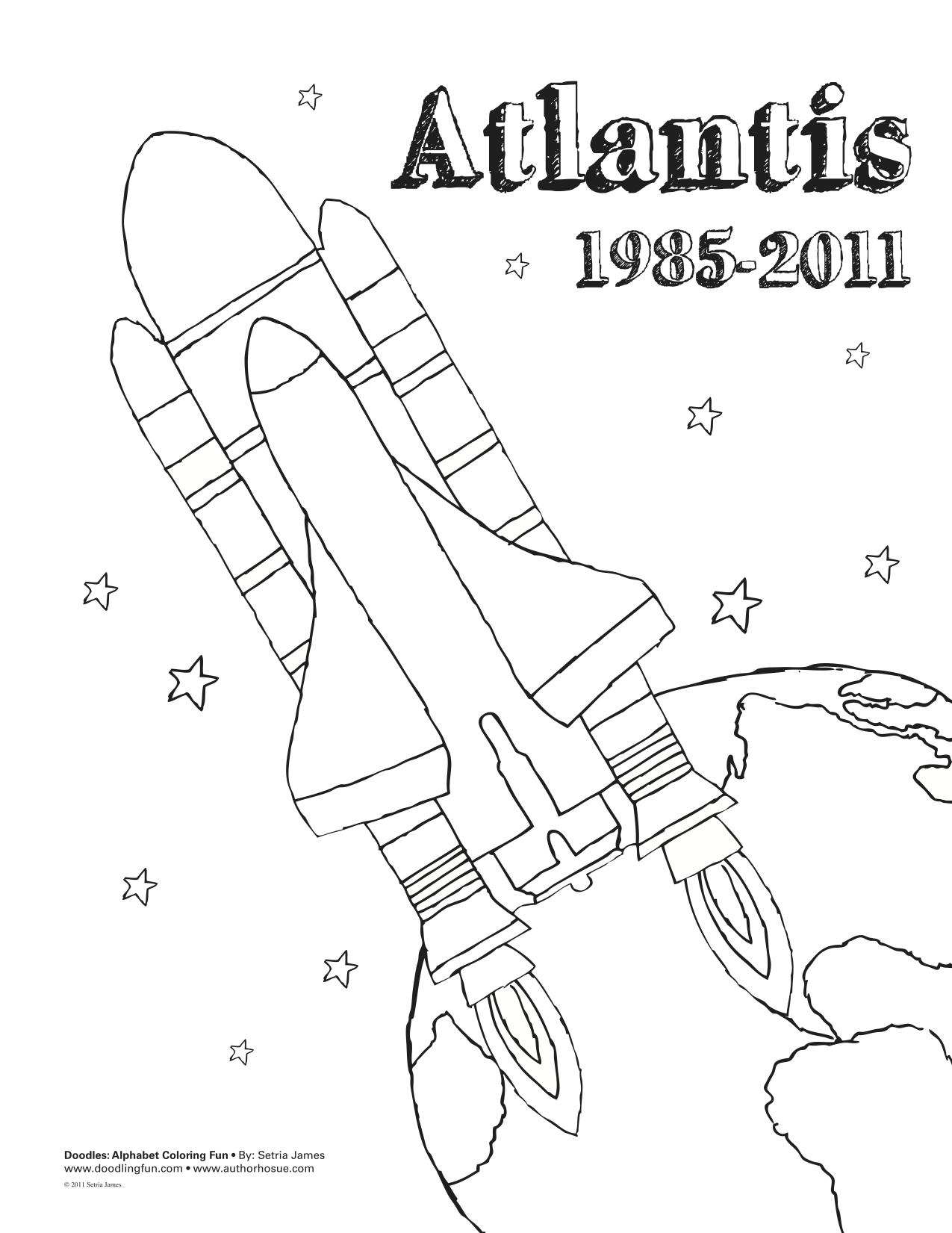 Atlantis Space Shuttle Coloring Sheet