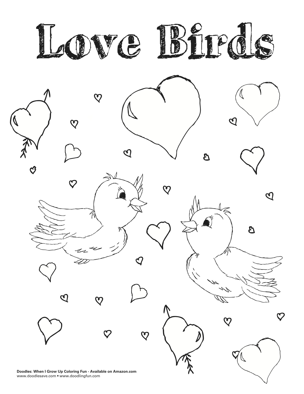 Valentines Day Doodle Coloring Sheets