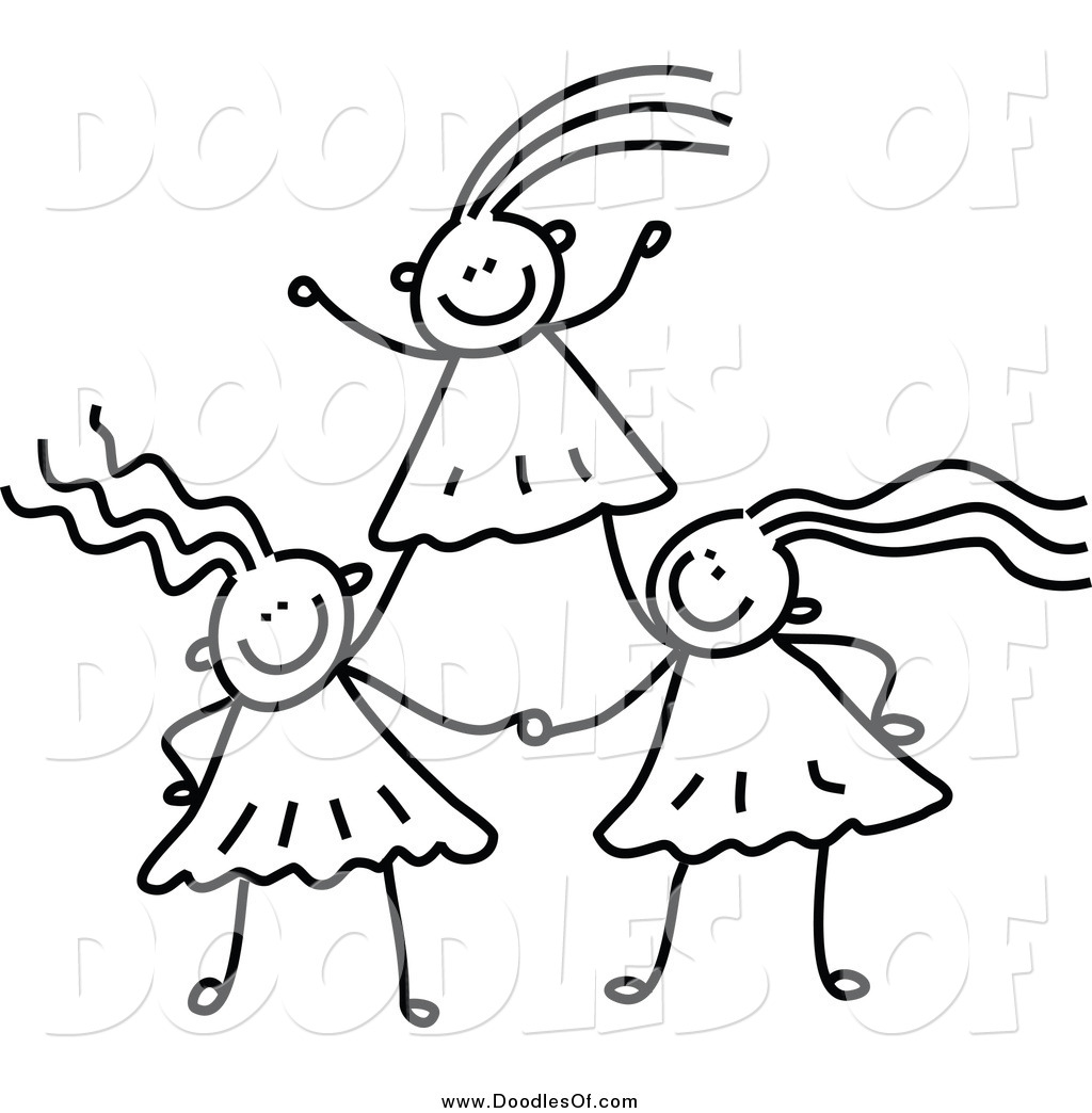 Vector Clipart Of A Black And White Doodle Of Girls
