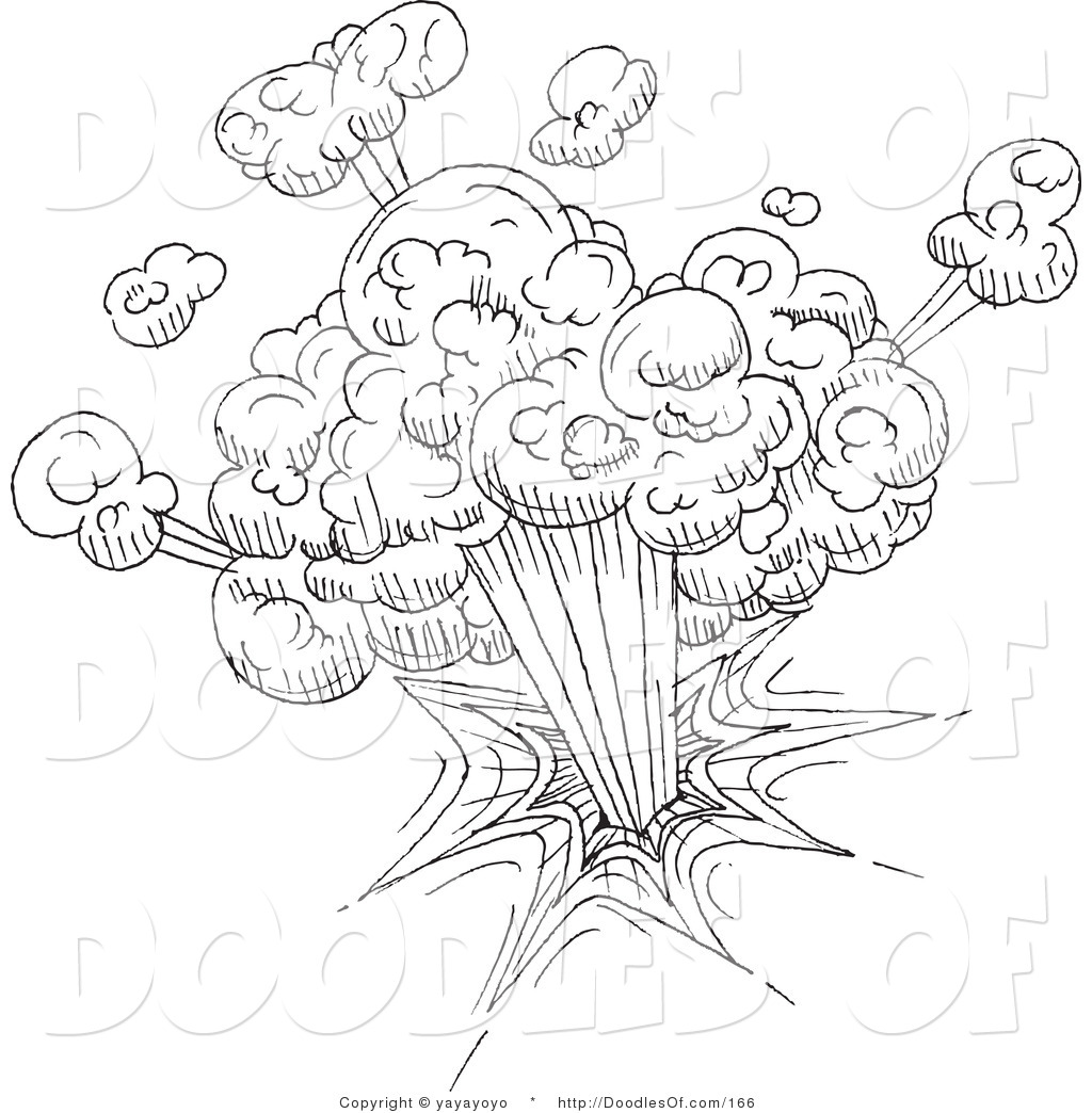 Vector Clipart Of A Black And White Explosion Doodle
