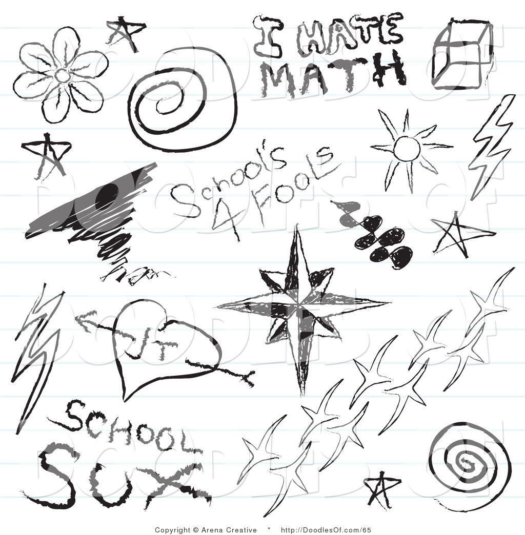 Vector Clipart Of A Digital Collage Of Notebook Pupil