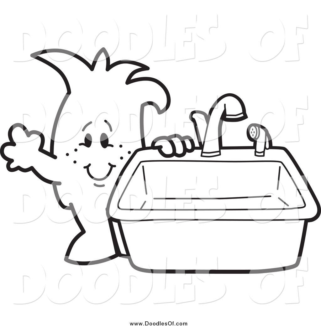 Vector Clipart Of A Doodled Squiggle Guy Standing By A