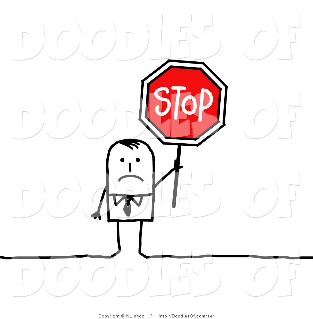 Vector Clipart Of A Sad Stick Figure Person Businses Man