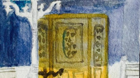 Watercolor Painting Door Of House Doodlewash