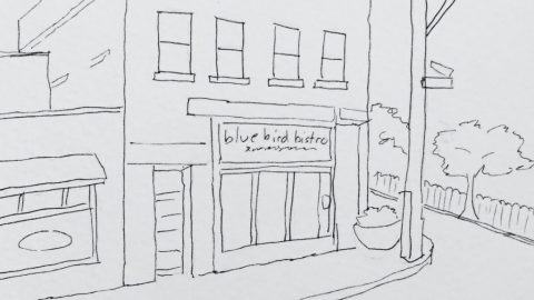 Blue Bird Bistro Urban Sketch Kansas City Doodlewash