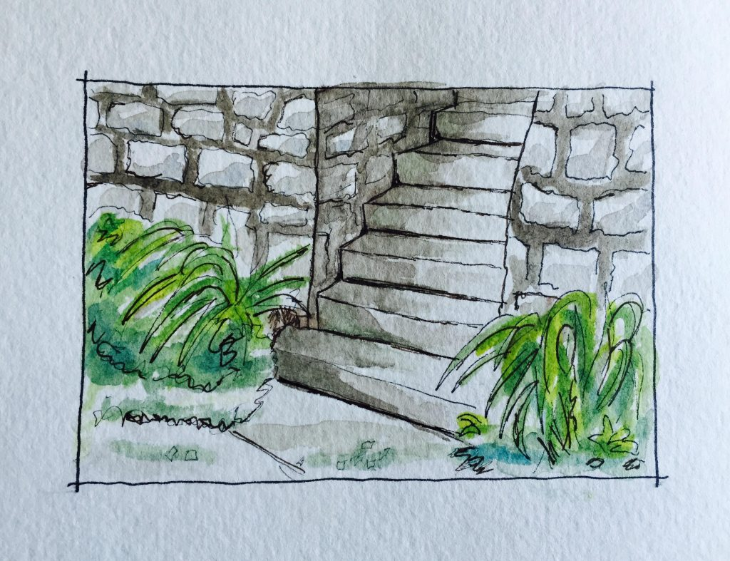 Watercolor Urban Sketching Stone Stairs Doodlewash