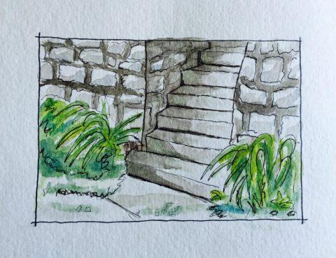 Watercolor Urban Sketching Stone Stairs Doodlewash