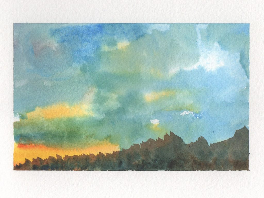 First Sunset Watercolor Doodlewash