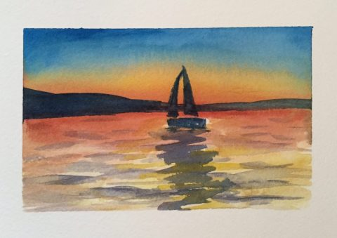 Evening Sailboat Watercolor Painting Doodlewash