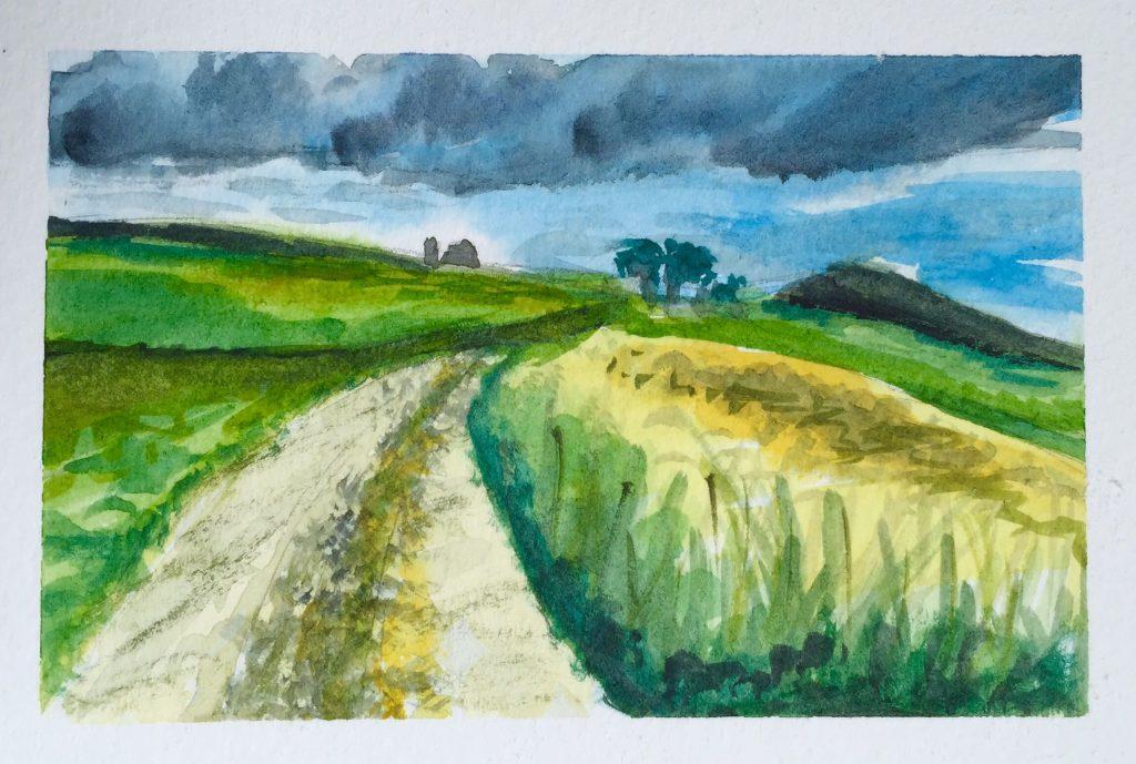 Stormy Sky Watercolor Painting Doodlewash