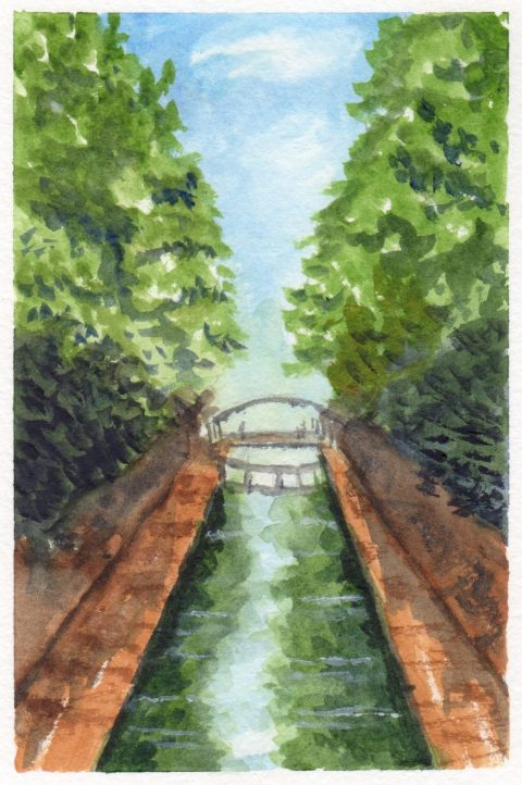 Le Canal Saint-Martin Watercolor Painting Aquarelle