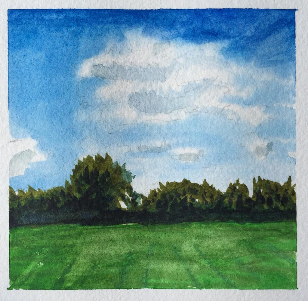Watercolor Painting Trees Grass Sky