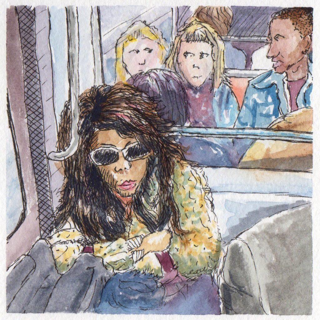 On the Paris Metro Watercolor Sketch